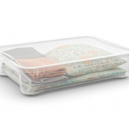 T Box XXM  műanyag tárolódoboz transzparens 54L 79,5x58,5x18 cm
