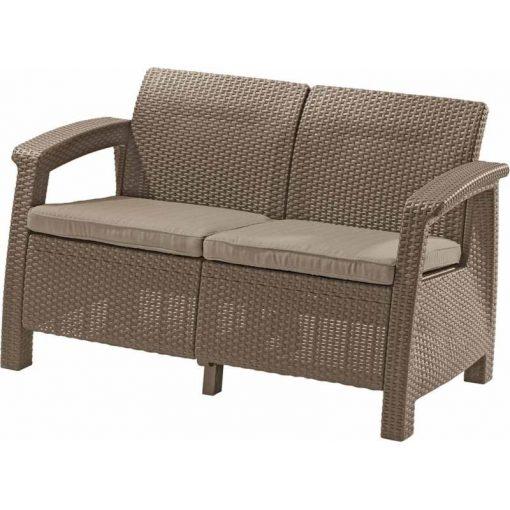 Corfu Love Seat 2 üléses kanapé 128x70x79 cm Cappuccino színű