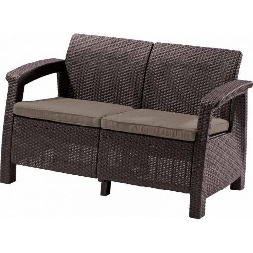 Corfu Love Seat 2 üléses kanapé 128x70x79 cm Sötétbarna színű