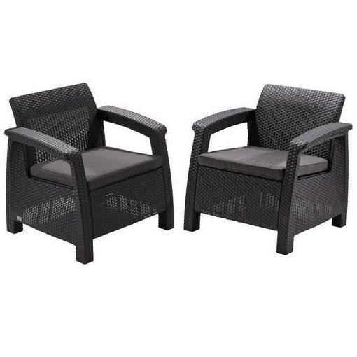 Corfu duo fotel szett (2db) 75x70x79 cm Grafitszürke színű