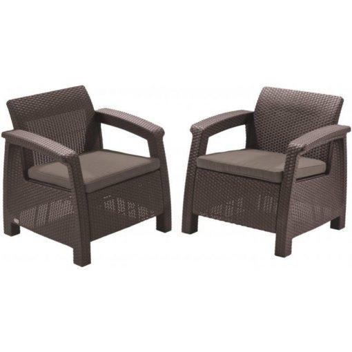 Corfu duo fotel szett (2db) 75x70x79 cm Sötétbarna színű