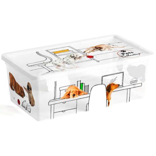 Műanyag tárolódoboz C box Pet XS 6L kutyás