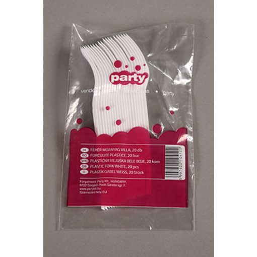 Party műanyag villa 20db-os fehér PRIMA többször használatos