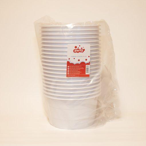 Party műanyag gulyástál 500ml 20db-os fehér tetőzhető