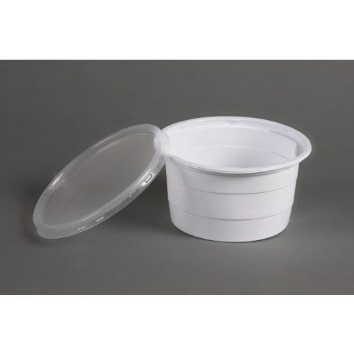 Party műanyag gulyástál tetőzhető 750ml fehér PP