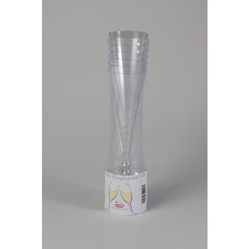 Party műanyag pezsgőspohár 1,3dl 6db-os PS