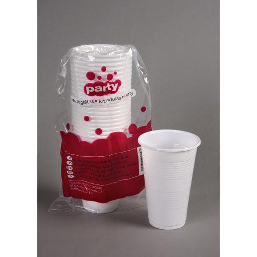 Party műanyag pohár 3dl 20db-os fehér PP