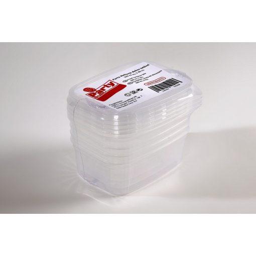 Party műanyag ételtartó doboz +tető, 500ml, mikrózható 5db-os PP