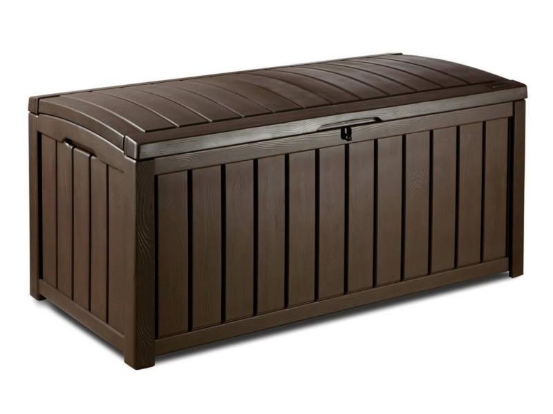 Víz- és időjárásálló GLENWOOD műanyag kerti tároló 390 L Sötétbarna színű