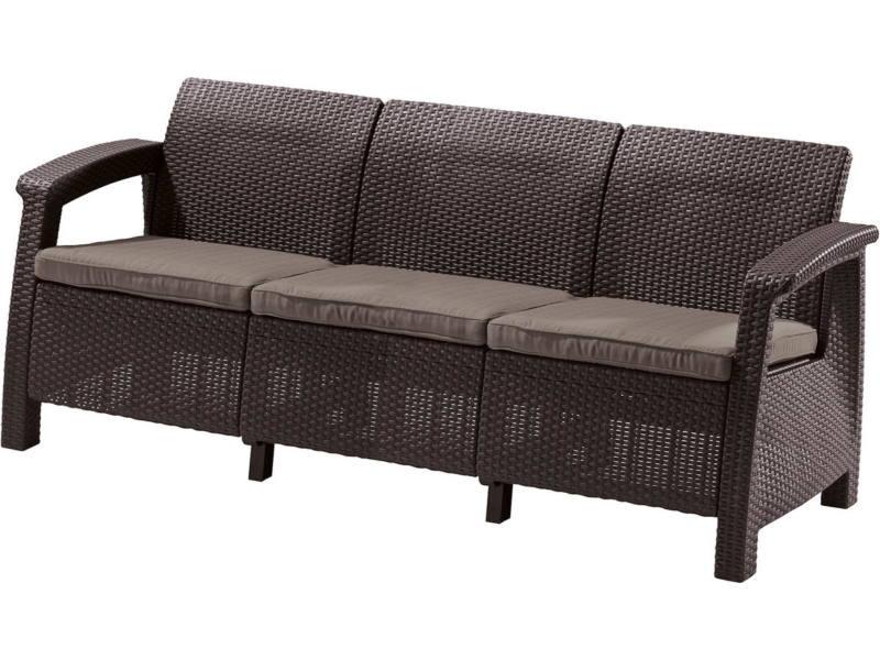 Corfu Love Seat Max 3 üléses kanapé 182x70x79 cm Sötétbarna színű