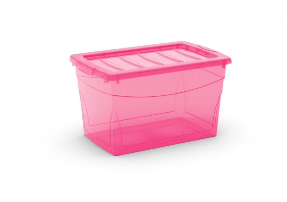 Omnibox M műanyag tárolódoboz pink 30L 30x47x27,5 cm
