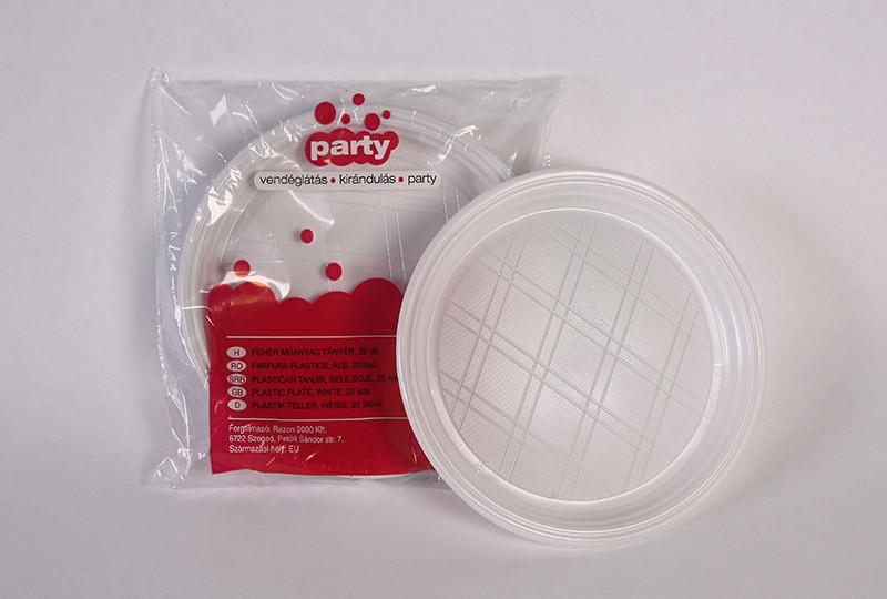 Party műanyag tányér 22cm 20db-os fehér PS
