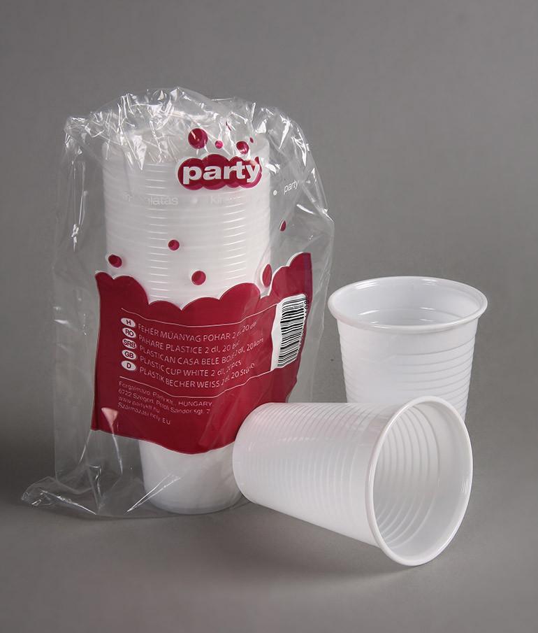 Party műanyag pohár 2dl 20db-os fehér PP
