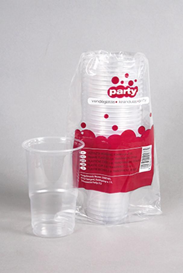 Party műanyag söröspohár 5dl 20db-os víztiszta PP