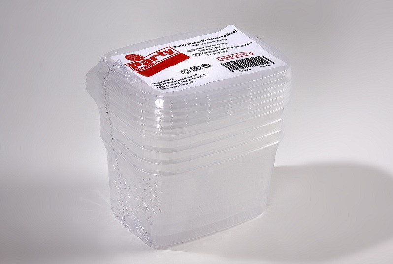 Party műanyag ételtartó doboz +tető 750ml, mikrózható 5db-os PP